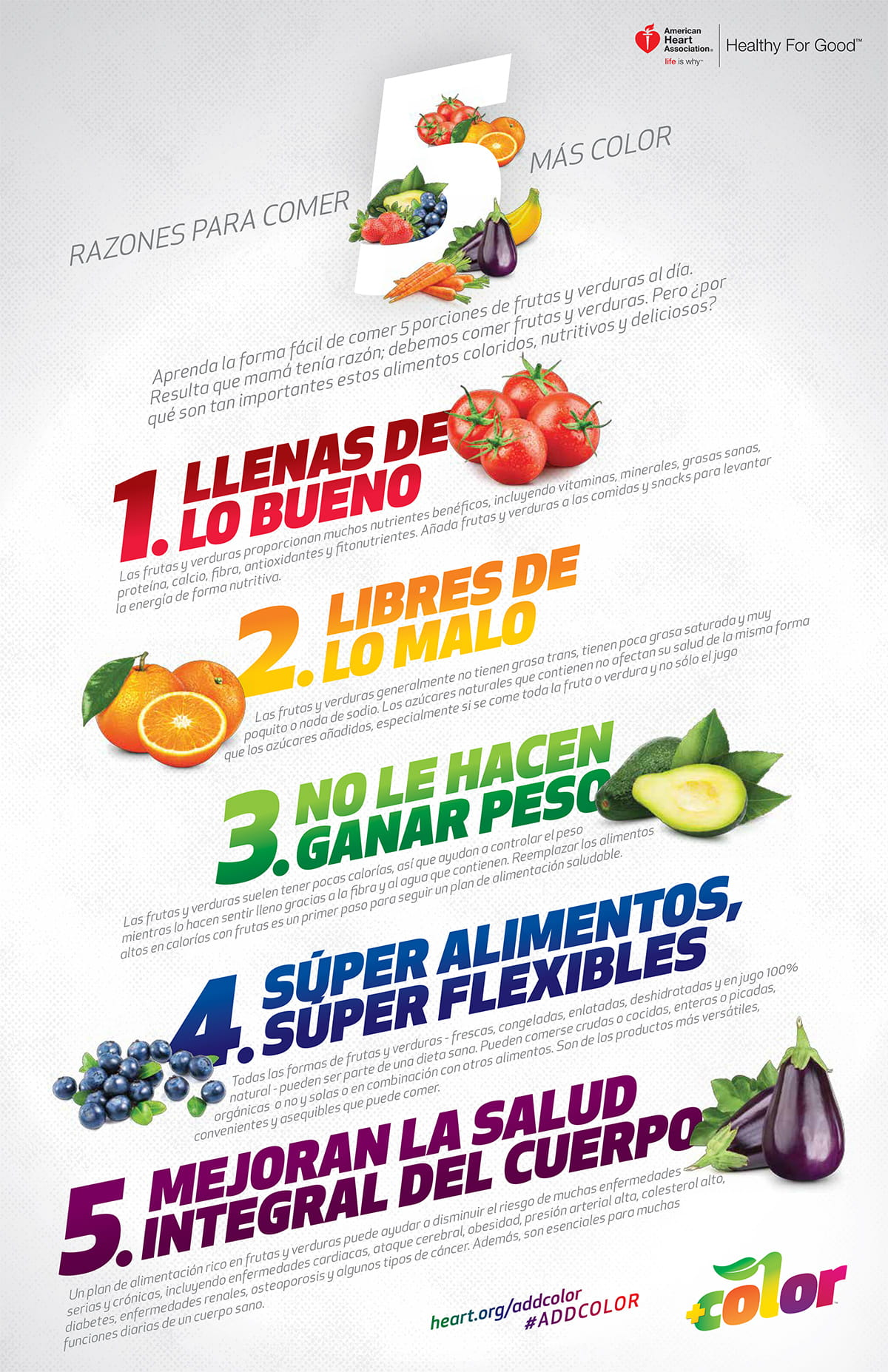 5 reasons to add color infographic in Spanish