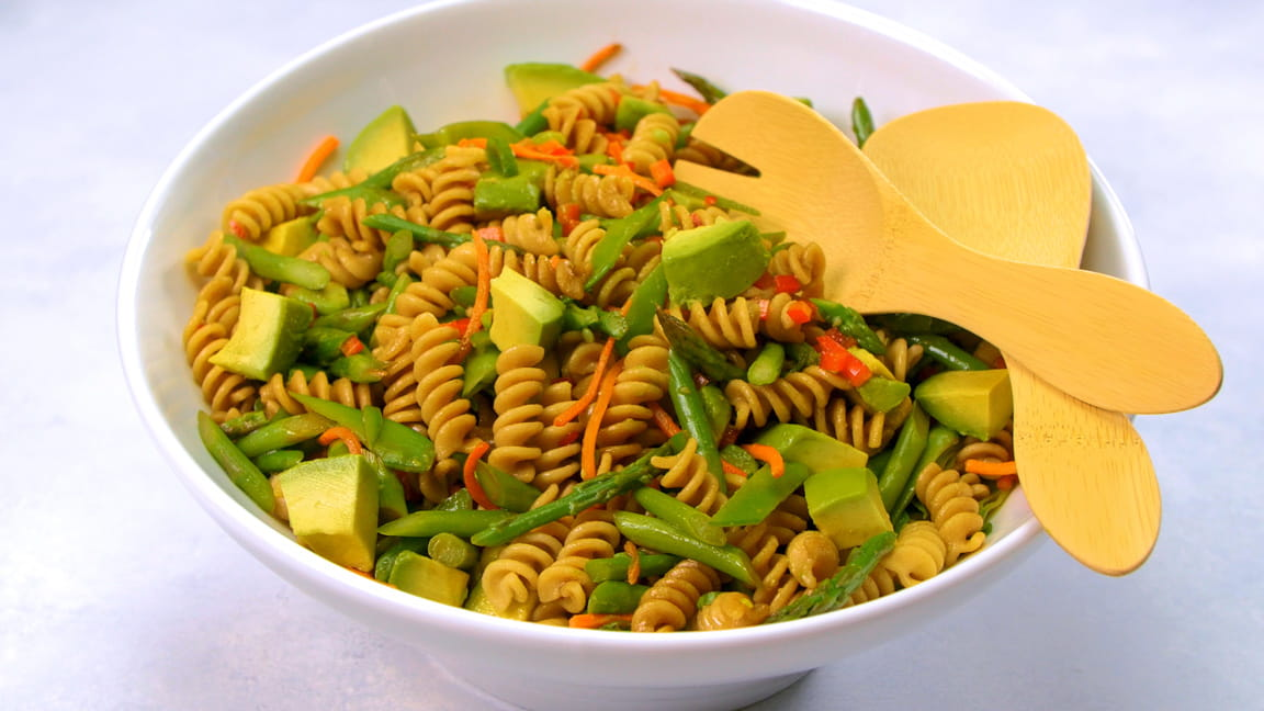 Asian-Inspired Pasta Salad with Asparagus, Snow Peas and Avocado
