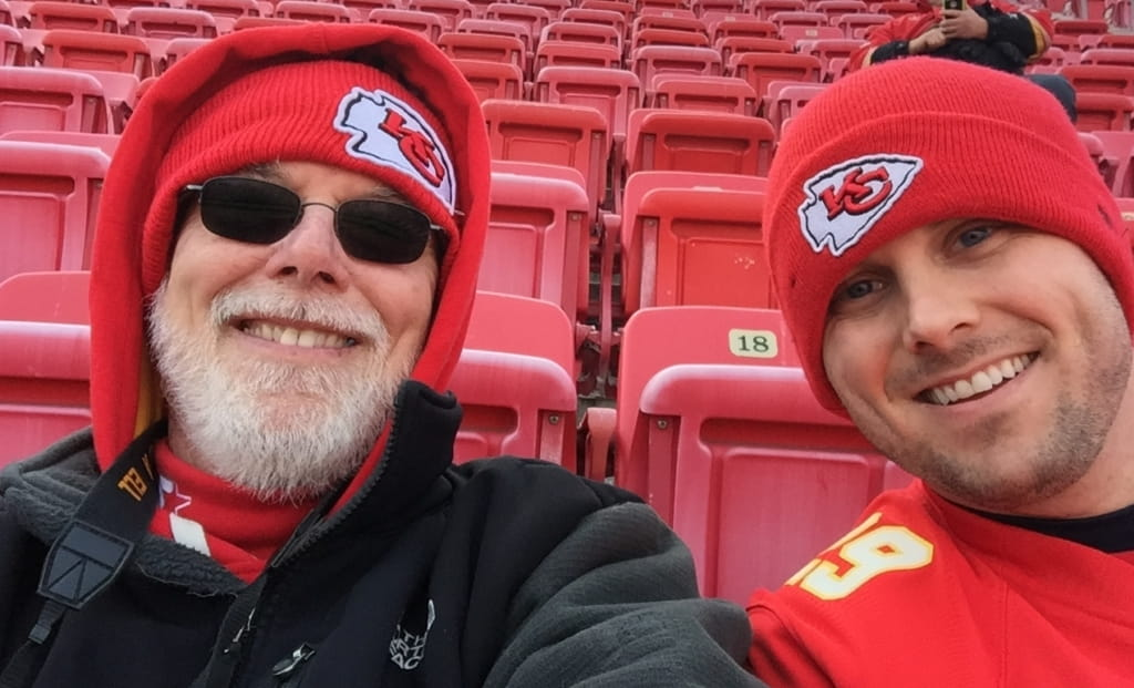 Terry and Sean Summers at Kansas City's Arrowhead Stadium in January. (Photo courtesy of Terry Summers)