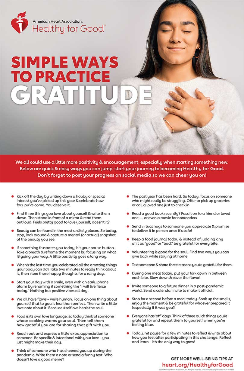 Simple ways to practice gratitude infographic