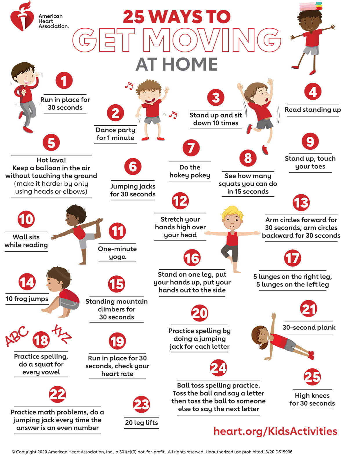 25 ways to get kids moving at home