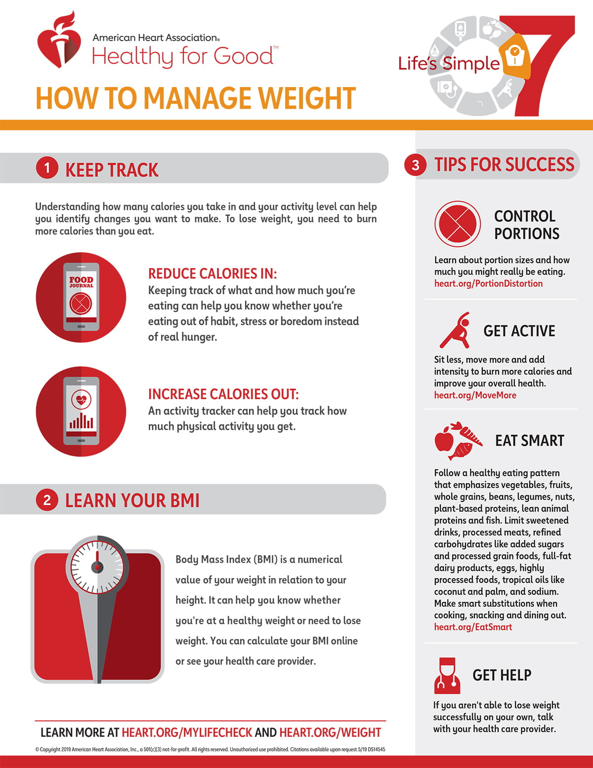Life's Simple 7 Manage Weight Infographic