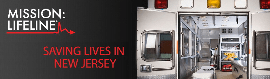 Ambulance with text that says Mission Lifeline: Saving Lives in New Jersey