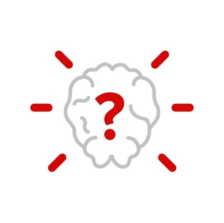 Icon of brain with a question mark in the middle