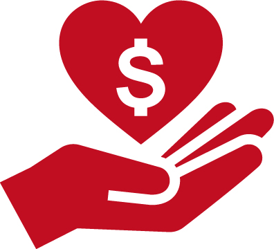 hand holding heart and money