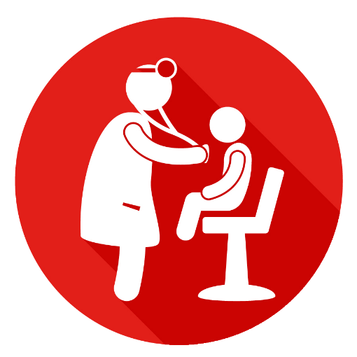 Icon of a doctor examining a child patient