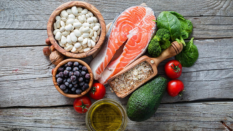 Various foods popular in the Mediterranean Diet