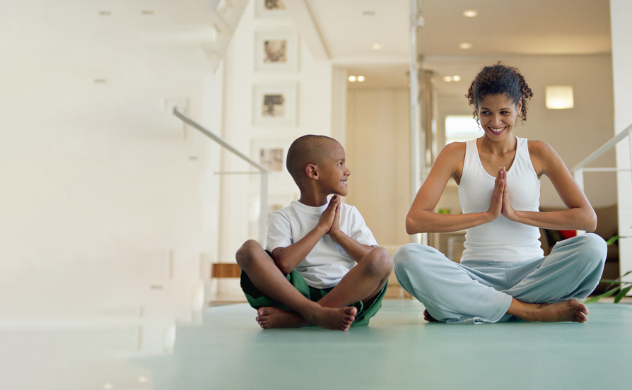 mother and son meditating