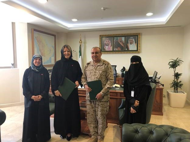 From left: Zehra' Al-Hilali, AHA MENA Regional Director, Lindsy Hilton, AHA Vice President, MENA and India ECC; Brigadier-General Meshref A. Al-Amri, Assistant Director General of Academic Affairs, MOD; and Ghadi Al-Musallam, International Relations and Scholarships Coordinator, MOD