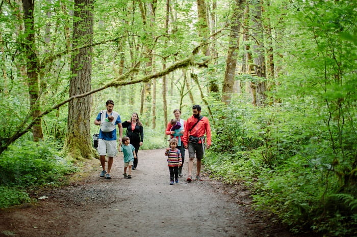 Stave off boredom by hiking with kids who are the same age.  (Photo courtesy of Michelle Pearl Gee)