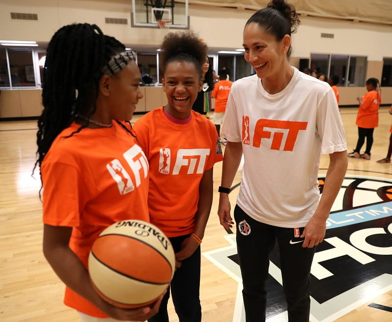 WNBA player Sue Bird helps lead an All-Star FIT clinic this past summer in Minneapolis. (Photo by Jordan Johnson for the WNBA)