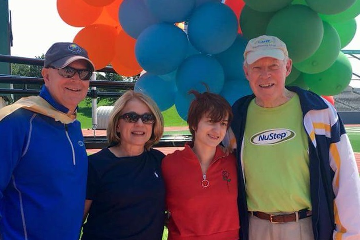 Steve Sarns (left) his wife Lori, daughter Megan and Dick Sarns at the Washtenaw County Heart Walk. (Photo courtesy of Steve Sarns)