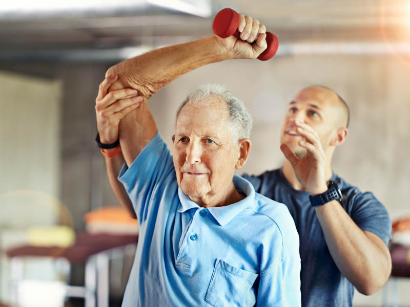 Older man in cardiac rehab. (Yuri Arcurs, iStockphoto)