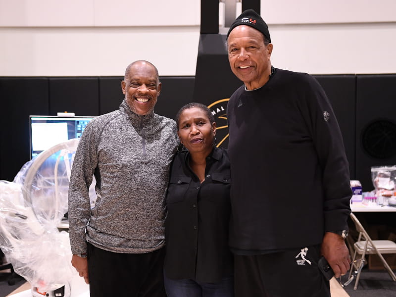 From left retired NBA player Nate Tiny Archibald National Basketball Players Association executive director Michele Roberts and president of the New York Chapter Retired Players Association Tom Hoover at a 2018 heart screening event in New York Photo by NBPA Matteo Marchi