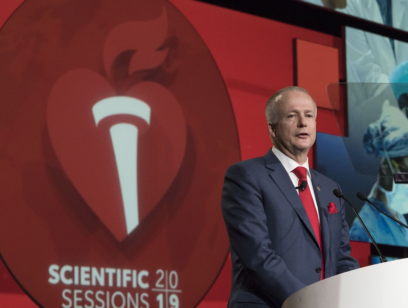 AHA President Robert Harrington delivers presidential address at Scientific Sessions 2019.