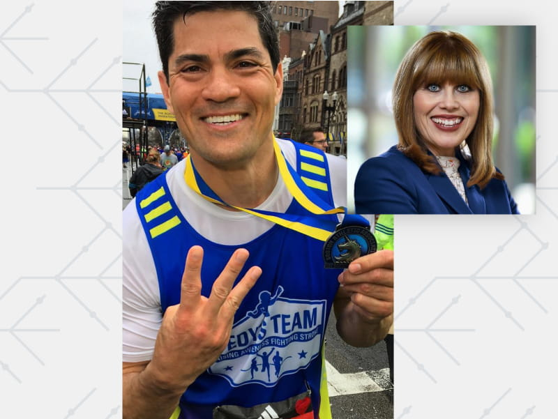 Former NFL linebacker Tedy Bruschi flashes three fingers after finishing his third Boston Marathon. (Photo courtesy of WBZ)