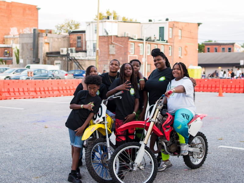 Brittany Young at a dirt bike showcase during Luv's Art Block Party in Baltimore. (Photo courtesy of Javon Roye)