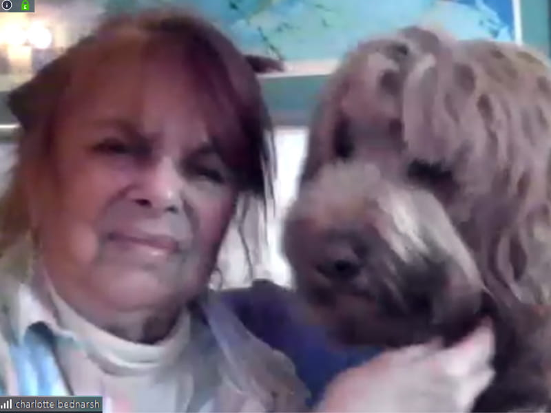 Charley Bednarsh with her dog, Atticus, during a recent Zoom call.