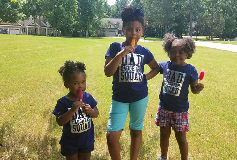 Caree Cotwright's daughters enjoy a frozen treat on a hot summer day. From left: Camryn, Camara and Camille. (Photo courtesy of Caree Cotwright)