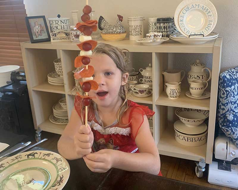 Alexis Wood's daughter practices math skills by building a healthy kebab with a variety of foods. (Photo courtesy of Alexis Wood)