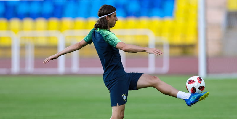 Brazil's Filipe Luis training before the 2018 FIFA World Cup quarterfinal match between Brazil and Belgium on Friday. (Photo by Buda Mendes/Getty Images)