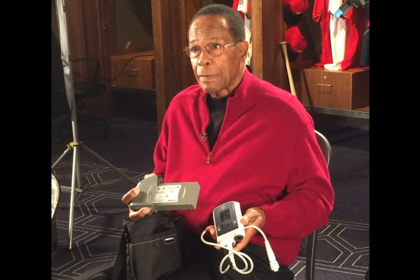 Rod Carew holds LVAD device