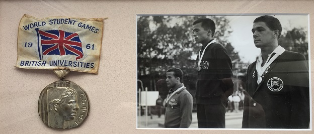 Len Rapkins on the medal stand at the 1961 World Student Games.