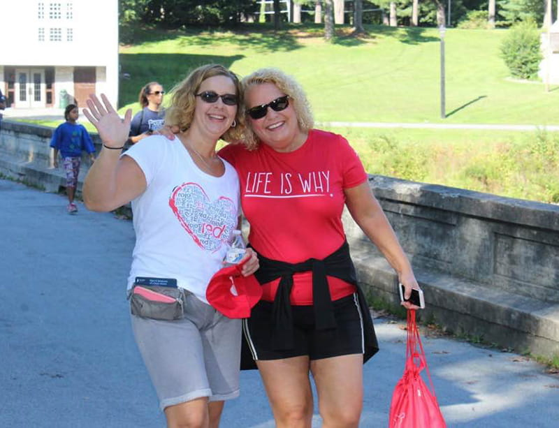 Bev Pohlit (right) and fellow heart attack survivor, Christine Hartline, during their first in-person meeting at the Berks County Heart Walk in Wyomissing, Pennsylvania. (Photo courtesy of Christine Hartline)