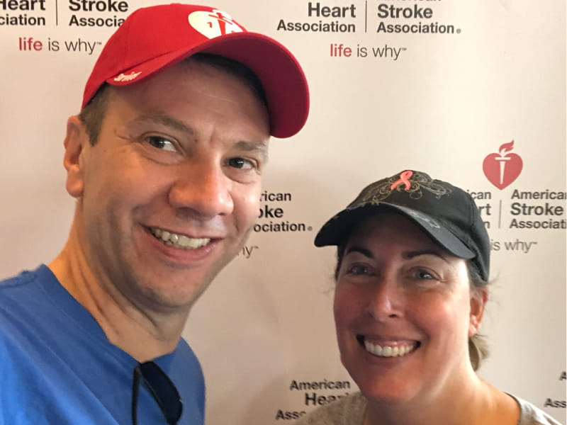 Jason Tschetter (left) and his wife, Gina, at the 2018 Twin Cities Heart Walk. (Photo courtesy of Jason Tschetter)