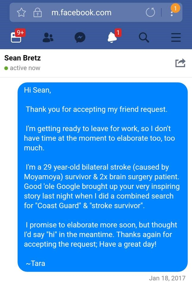 The original Facebook note Tara wrote to Sean, introducing herself.