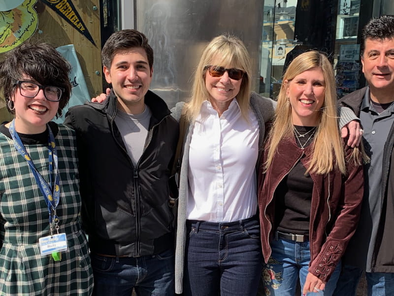 Cheryl meets the whole Gallegos family in 2019, at the 9th anniversary of the heart transplant. Left to right: Michaela and Austin Gallegos, Cheryl, Margot and Tim Gallegos
