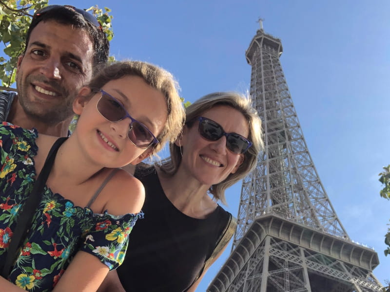 10-year-old Lara Asch had to give up many of her favorite foods when her blood tested high in cholesterol and triglycerides. Her parents, both cardiologists, brought Lara to the 2019 ESC conference in Paris, France. From left: Federico Asch, Lara and Ana Barac. (Photo courtesy of Federico Asch)