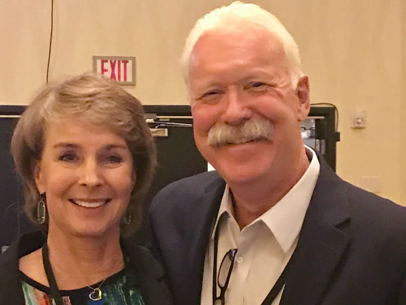 Joe Farrell, a cardiac arrest survivor, with his wife Edie at the State of the Future of Resuscitation Conference in Oakland, California. (Photo courtesy of Joe Farrell)