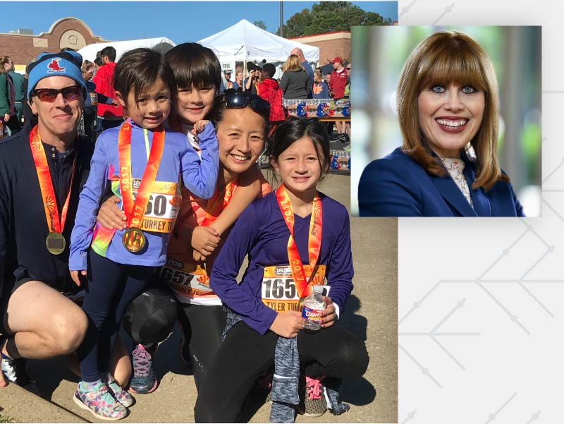 Dr. Li-Yu Mitchell  and family; American Heart Association CEO Nancy Brown.