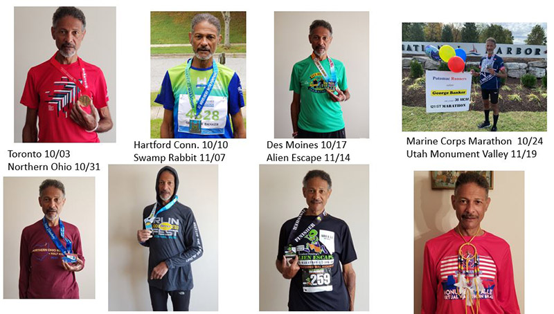 The first eight of George Banker's 14 marathons in 13 weeks late last year. (Images courtesy of George Banker)