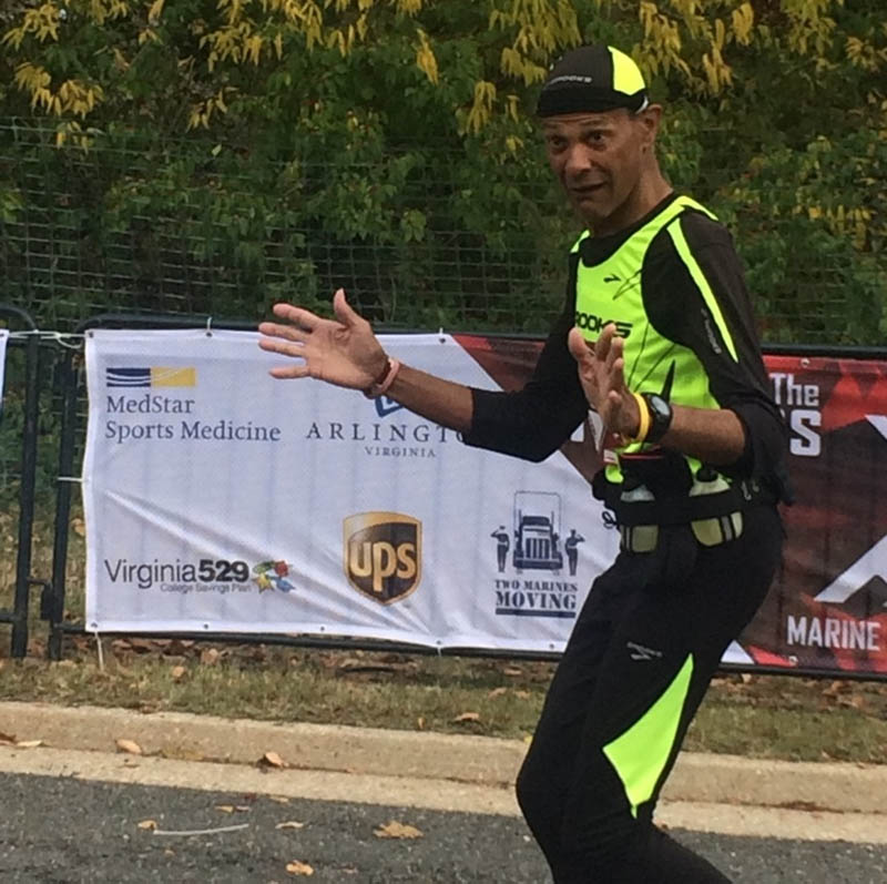 Keeping a promise to Bernadette, George finished the 2015 Marine Corps Marathon in his slowest-ever time. (Photo courtesy of George Banker)