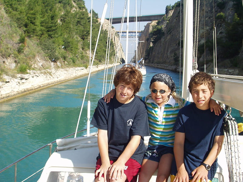 Danny, Sarah and Adam aboard the Nowornot sailing in Greece. (Photo courtesy of the Zuckerman-Meyerson family)
