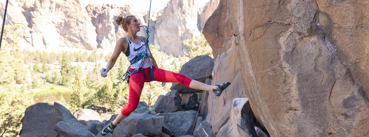 Molly Hemphill training on the climbing routes at Smith Rock, Oregon