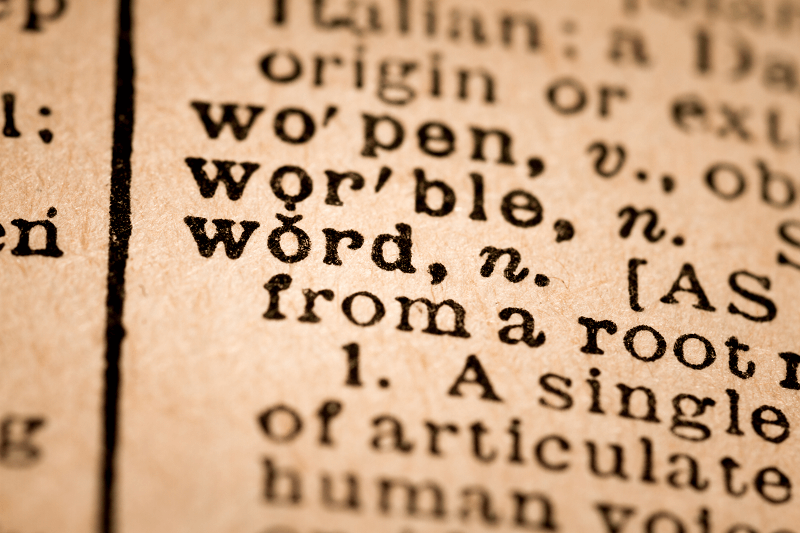 "Close up of the word ""Word"" on a dictionary page"
