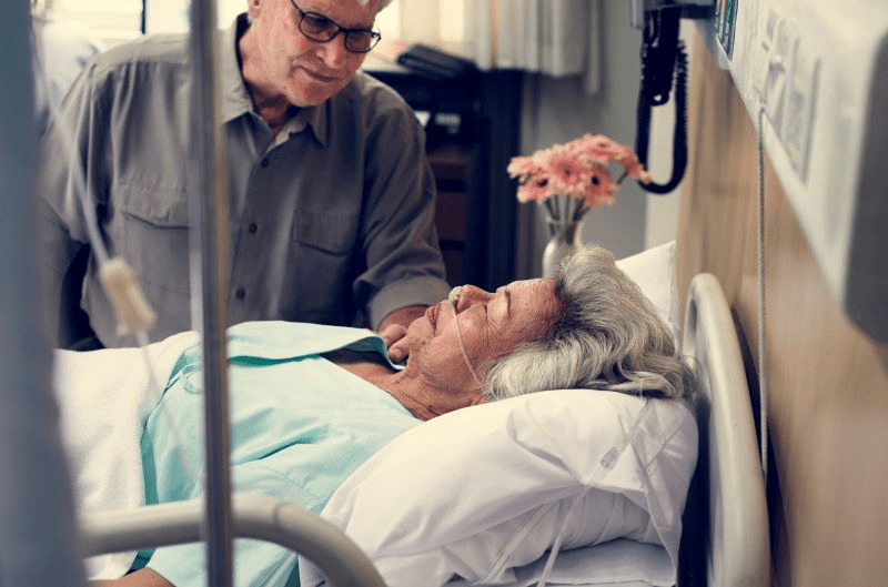 elderly patient in a hospital room