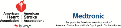 American Heart Association American Stroke Association logo with Medtronic logo and statement of relationship