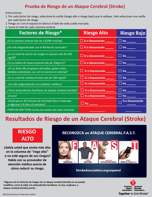 Stroke Risk Quiz Spanish