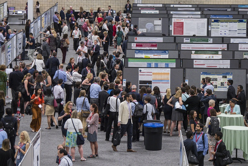 Overhead view of poster presentations at the International Stroke Conference