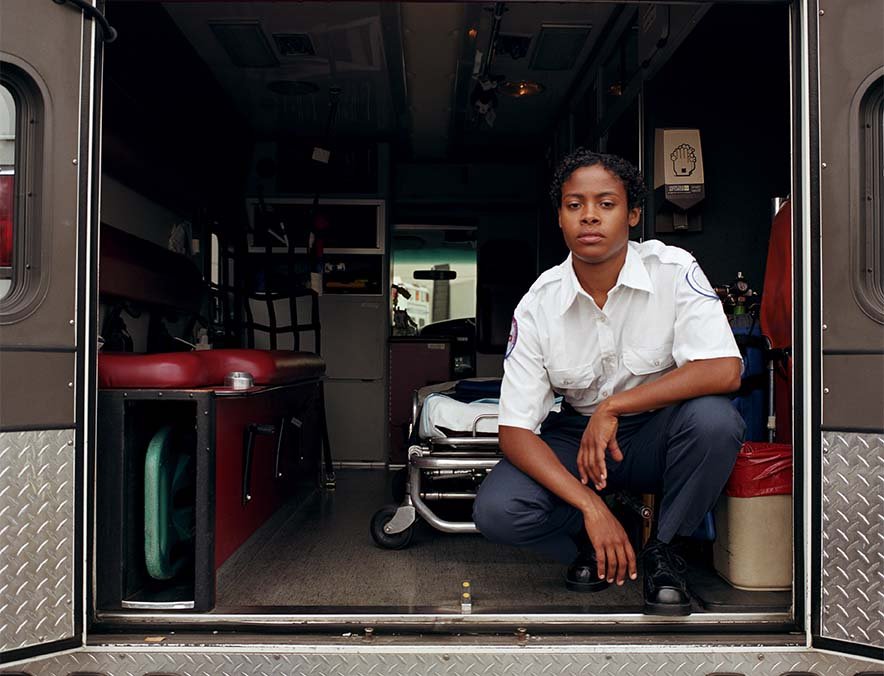 Medic in the back of an ambulance